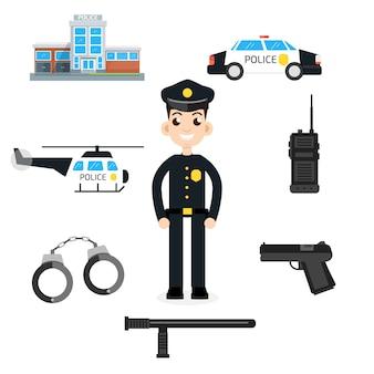 Carro da polícia, departamento, helicóptero, arma, algemas e conjunto de polícia de rádio