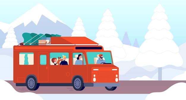 Carro de acampamento de inverno. viagem de família ao ar livre de natal, trailer na estrada. viajantes de férias dirigindo na ilustração vetorial de paisagem de montanha de neve. carro de aventura de inverno, viagem e férias