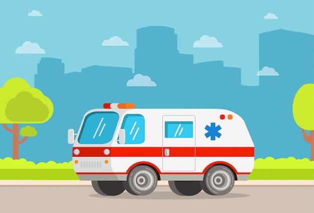 Carro de ambulância de clínica de cuidados médicos de transporte de hospital.