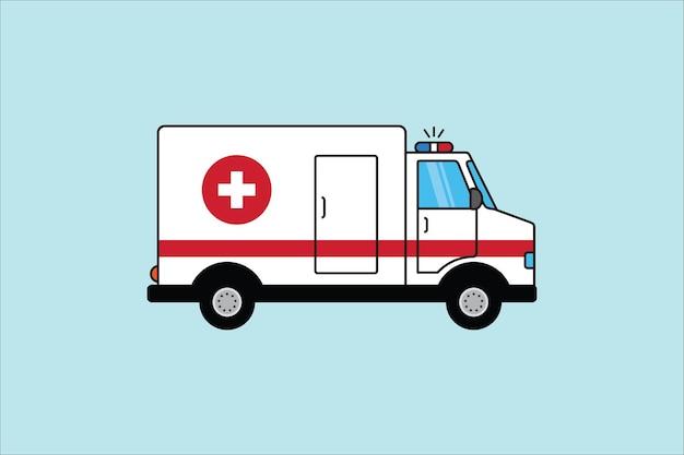 Carro de ambulância de ilustração vetorial sobre fundo azul. ambulância paramédica de emergência. evacuação médica de veículos ambulância. desenho animado. ilustração vetorial de uma ambulância em estilo simples