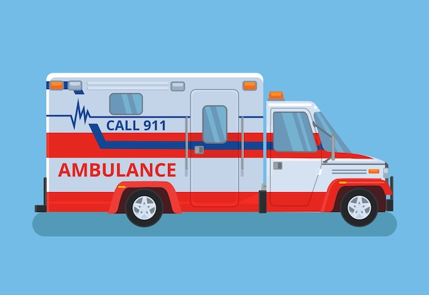 Carro de ambulância. desenho plano