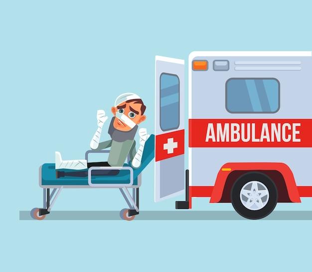 Carro de ambulância e personagem de homem vítima quebrado. ilustração dos desenhos animados