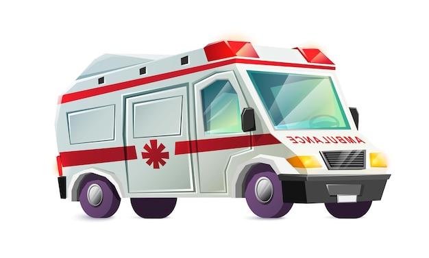 Carro de ambulância isolado no branco