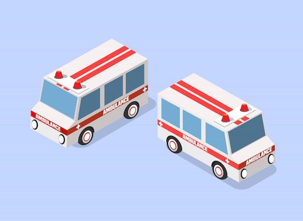 Carro de ambulância isométrico