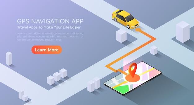 Carro de banner 3d isométrico da web vai apontar para o aplicativo de navegação de mapa gps no smartphone. página inicial do conceito de tecnologia de navegação de mapa gps móvel.