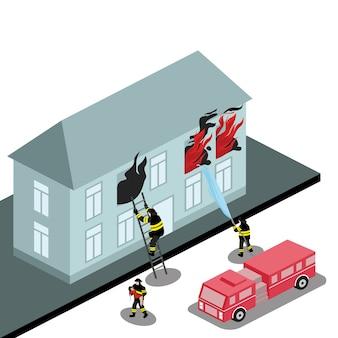 Carro de bombeiros apaga um edifício de chamas
