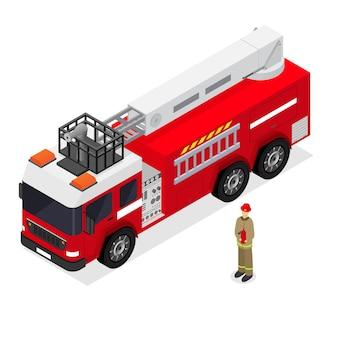 Carro de bombeiros vermelho e bombeiro na vista isométrica uniforme. auto transporte de emergência.