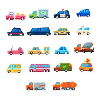 Carro de brinquedo bonito conjunto de ícones