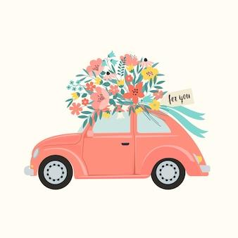 Carro de brinquedo retrô rosa, entregando o buquê de caixa de flores.