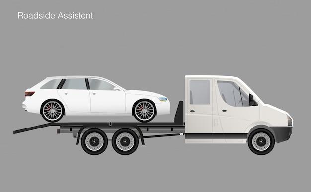 Carro de caminhão de reboque de assistência na estrada.