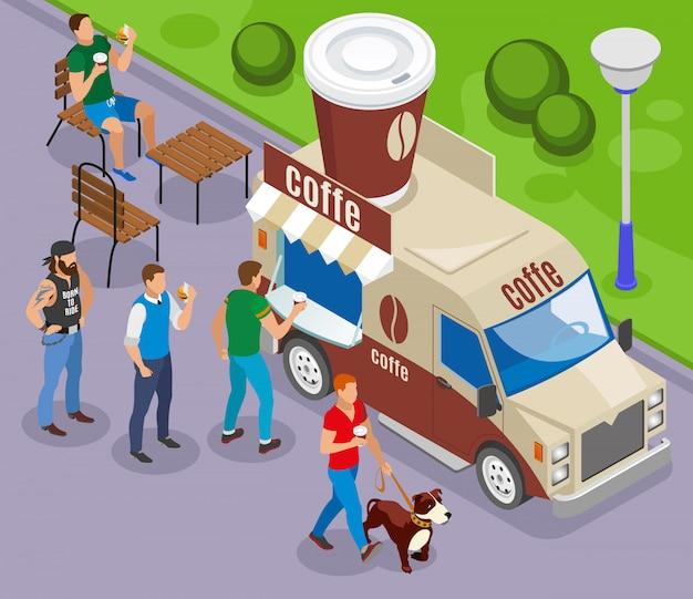 Carro de comida de rua com comércio de composição isométrica de café com clientes na fila