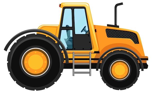Carro de construção amarelo isolado no fundo branco