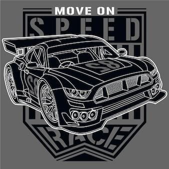 Carro de corrida campeão, ilustração vetorial de carro