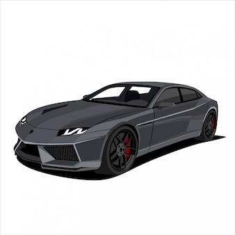 Carro de corrida cinza, ilustração de carro esporte
