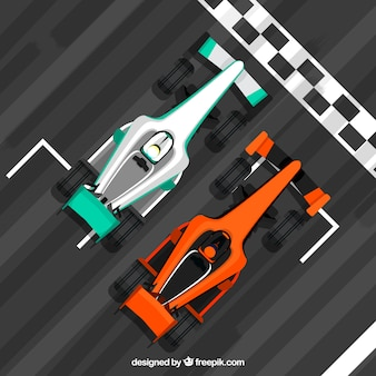 Carro de corrida de fórmula 1 na linha de chegada com design plano