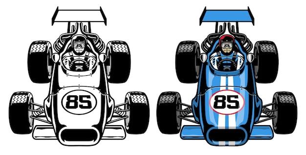 Carro de corrida de fórmula retrô vintage