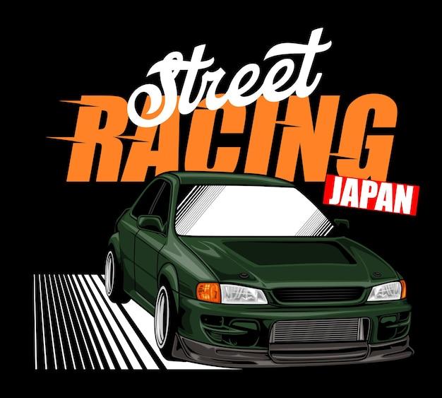Carro de corrida de rua verde