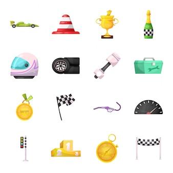Carro de corrida dos desenhos animados conjunto de ícones
