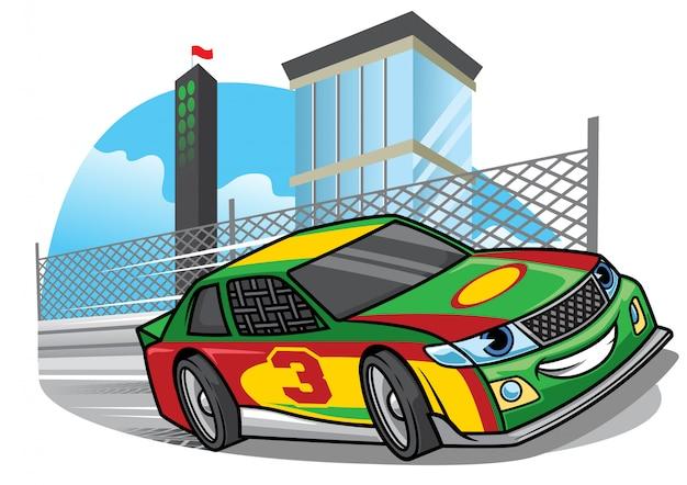 Carro de corrida dos desenhos animados, correndo rápido na pista