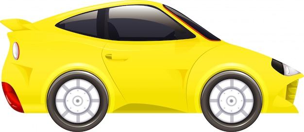Carro de corrida em amarelo no branco