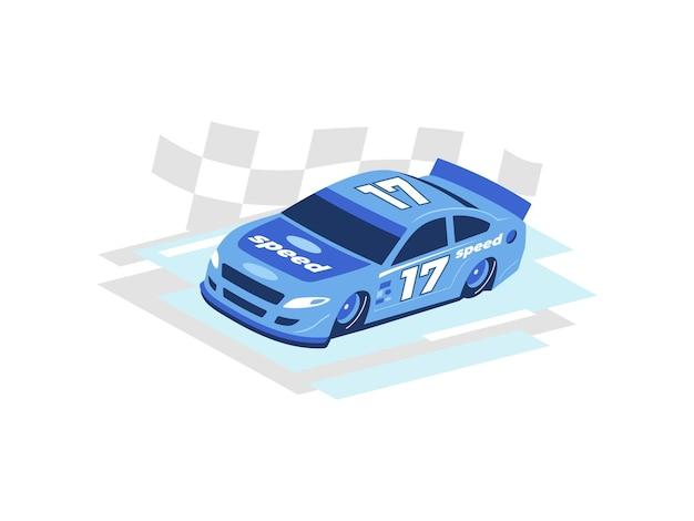 Carro de corrida esportivo motorizado em alta velocidade na pista, bandeira quadriculada na ilustração do conceito de fundo