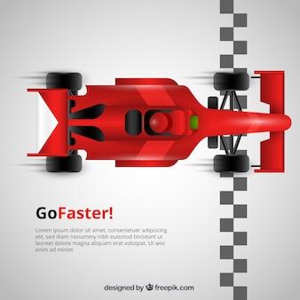 Carro de corrida f1 vermelho cruza a linha de chegada