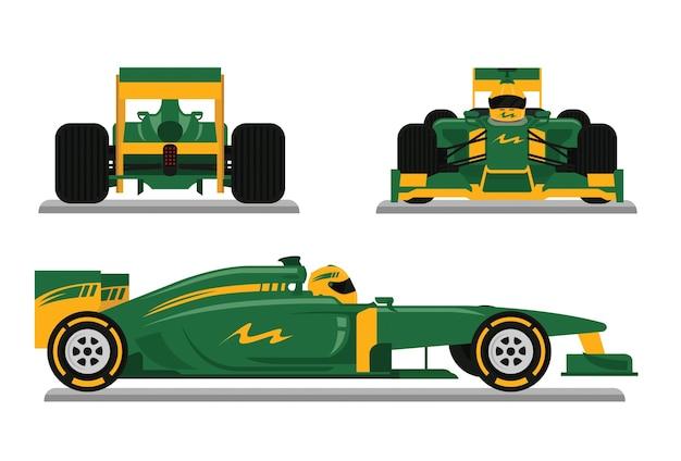 Carro de corrida verde pronto para corrida