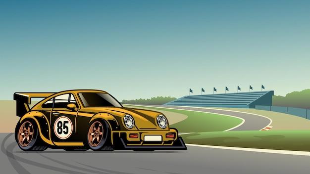 Carro de corrida vintage antigo no circuito