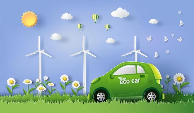 Carro de eco com economias o conceito da terra e da energia.