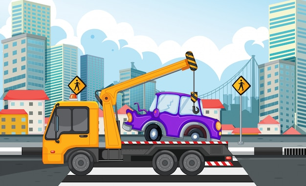 Carro de elevação de caminhão de reboque na estrada