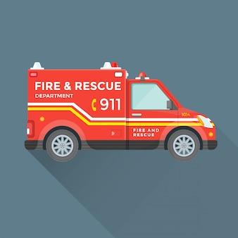 Carro de emergência do departamento de resgate de incêndio