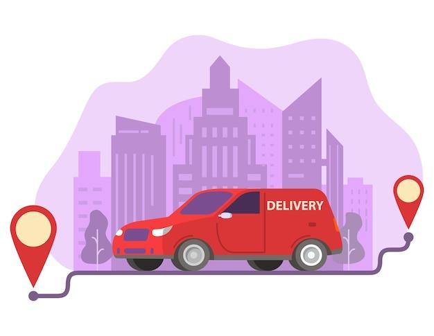 Carro de entrega carregando encomendas em pontos