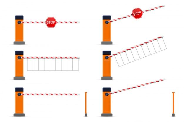 Carro de estacionamento com portão de barreira aberto e fechado