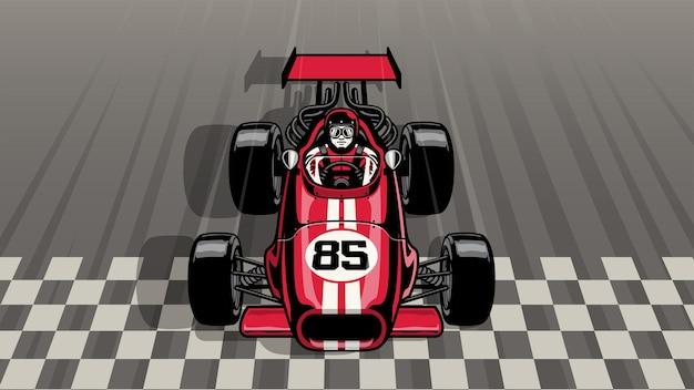 Carro de fórmula vintage antigo dirigindo rápido, passando pela linha de chegada