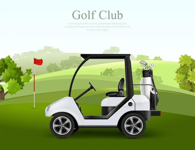 Carro de golfe vazio com saco de tacos na ilustração em vetor realista de campo verde