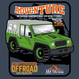 Carro de grande roda, carro de aventura, ilustração vetorial de carro
