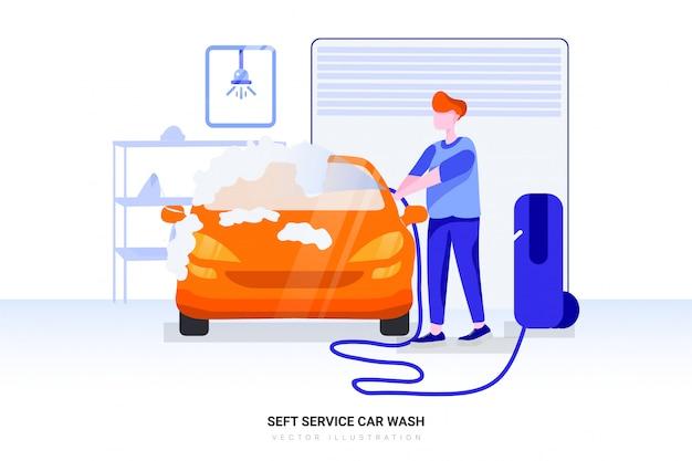 Carro de limpeza usando água de alta pressão