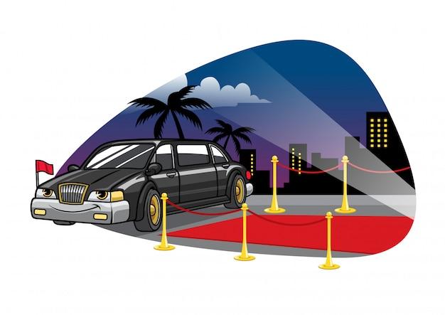 Carro de limusine dos desenhos animados no tapete vermelho