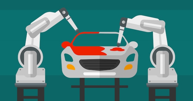 Carro de pintura de braço robótico em uma linha de produção.