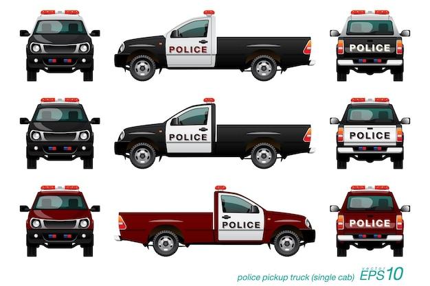 Carro de polícia de caminhonete com sirene vermelha, modelo isolado no fundo branco.