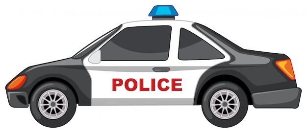 Carro de polícia em preto e branco