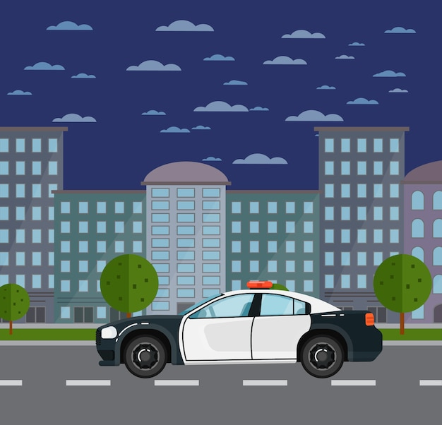 Carro de polícia na estrada na paisagem urbana