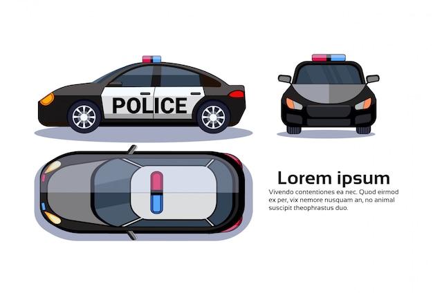 Carro de polícia no topo isolado branco