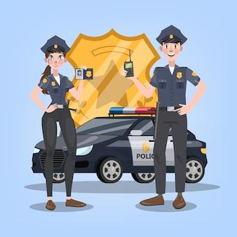 Carro de polícia ou automóvel com emblema dourado no fundo. casal de policial feminino e masculino. veículo 911, transporte de emergência. ilustração