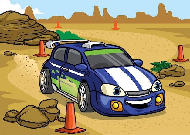 Carro de rali dos desenhos animados na pista do deserto