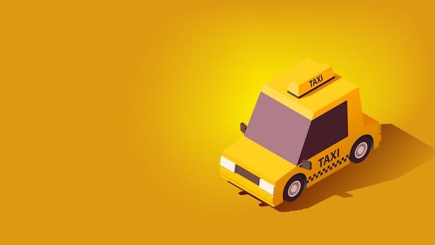Carro de táxi amarelo. na cidade paisagem de fundo. ilustração denominada isoflat.
