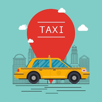 Carro de táxi. design de gráficos modernos plana informação criativa no táxi público.