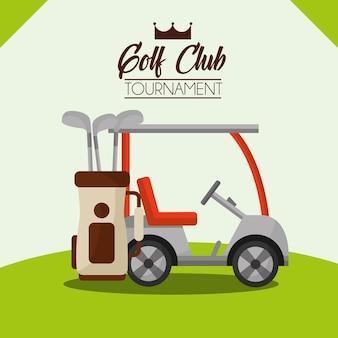 Carro de torneio de clube de golfe e saco no campo