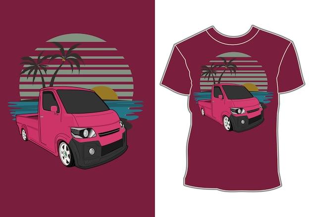 Carro de transporte com fundo do mar, para camiseta
