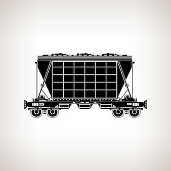 Carro de tremonha silhueta para fertilizante de transporte em massa, cimento, grãos e outras cargas a granel em um fundo claro, ilustração em vetor preto e branco